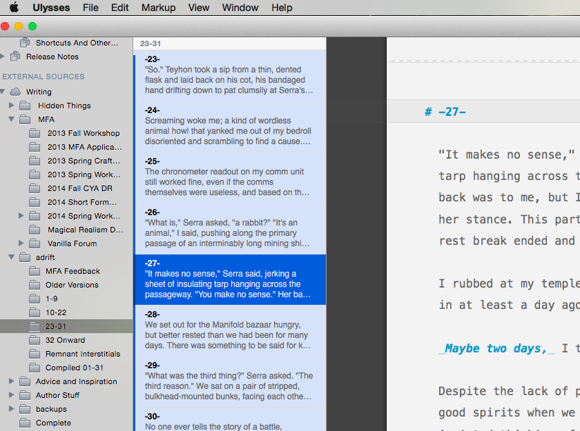 What a Chapter directory looks like in Ulysses III